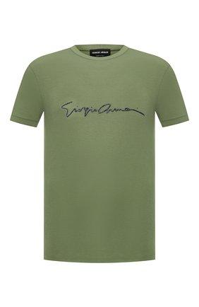 Мужская футболка из вискозы GIORGIO ARMANI хаки цвета, арт. 3GST54/SJP4Z | Фото 1