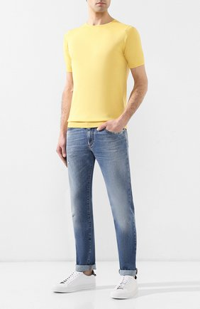 Мужской хлопковый джемпер JOHN SMEDLEY желтого цвета, арт. BELDEN | Фото 2