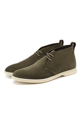 Мужские замшевые ботинки softey walk LORO PIANA хаки цвета, арт. FAI4940 | Фото 1