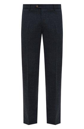 Мужские брюки из смеси шерсти и шелка ANDREA CAMPAGNA темно-синего цвета, арт. ZIP/1 WHITE/LP183U | Фото 1 (Длина (брюки, джинсы): Стандартные; Материал внешний: Шерсть; Случай: Формальный; Стили: Классический; Статус проверки: Проверена категория, Проверено)