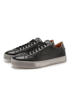Мужские кожаные кеды SANTONI темно-серого цвета, арт. MBGL21066SP0MFG0G62 | Фото 1