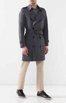 Мужские кожаные кеды SANTONI темно-серого цвета, арт. MBGL21066SP0MFG0G62 | Фото 2