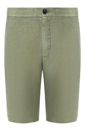 Мужские льняные шорты Z ZEGNA зеленого цвета, арт. VS160/ZZ382 | Фото 1