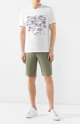 Мужские льняные шорты Z ZEGNA зеленого цвета, арт. VS160/ZZ382 | Фото 2