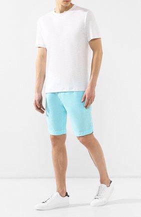 Мужские льняные шорты Z ZEGNA голубого цвета, арт. VS160/ZZ382 | Фото 2