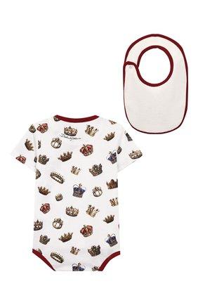Детское комплект из хлопкового комбинезона и нагрудника DOLCE & GABBANA белого цвета, арт. L1JG16/G7SDS | Фото 2