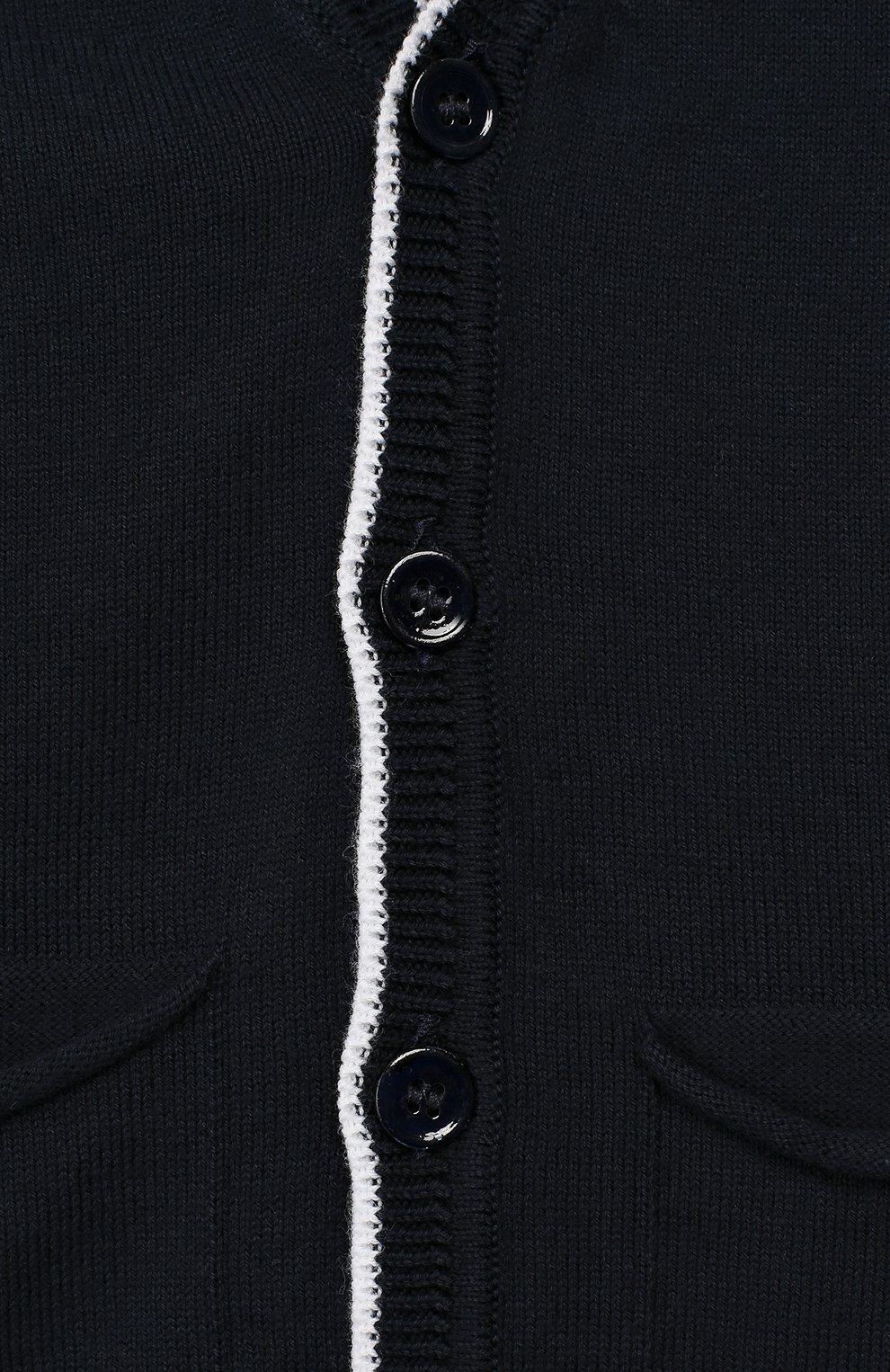 Детский хлопковый кардиган ALETTA темно-синего цвета, арт. MRVE99569/1M-18M | Фото 3