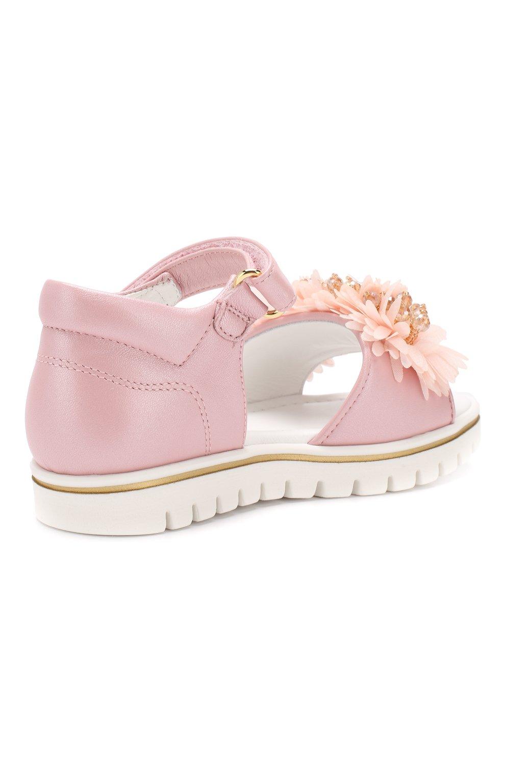 Детские кожаные сандалии с застежкой велькро MISSOURI розового цвета, арт. 5114/18-26 | Фото 3