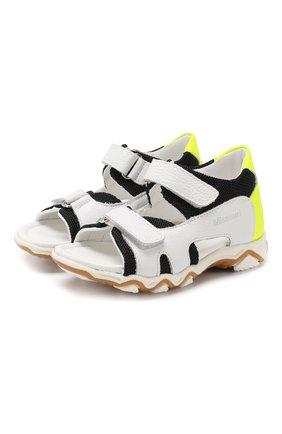 Кожаные сандалии с застежкой велькро | Фото №1