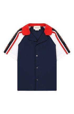 Детский хлопковая рубашка GUCCI синего цвета, арт. 546862/XWAAN | Фото 1