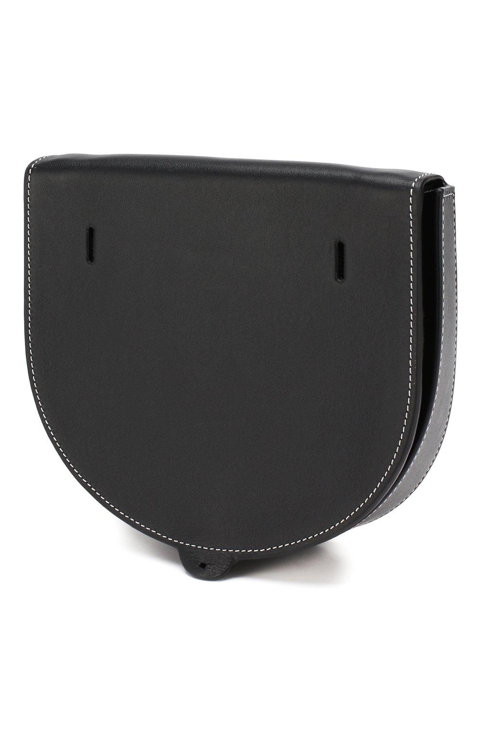 Кожаная сумка Heel Loewe черная цвета | Фото №3