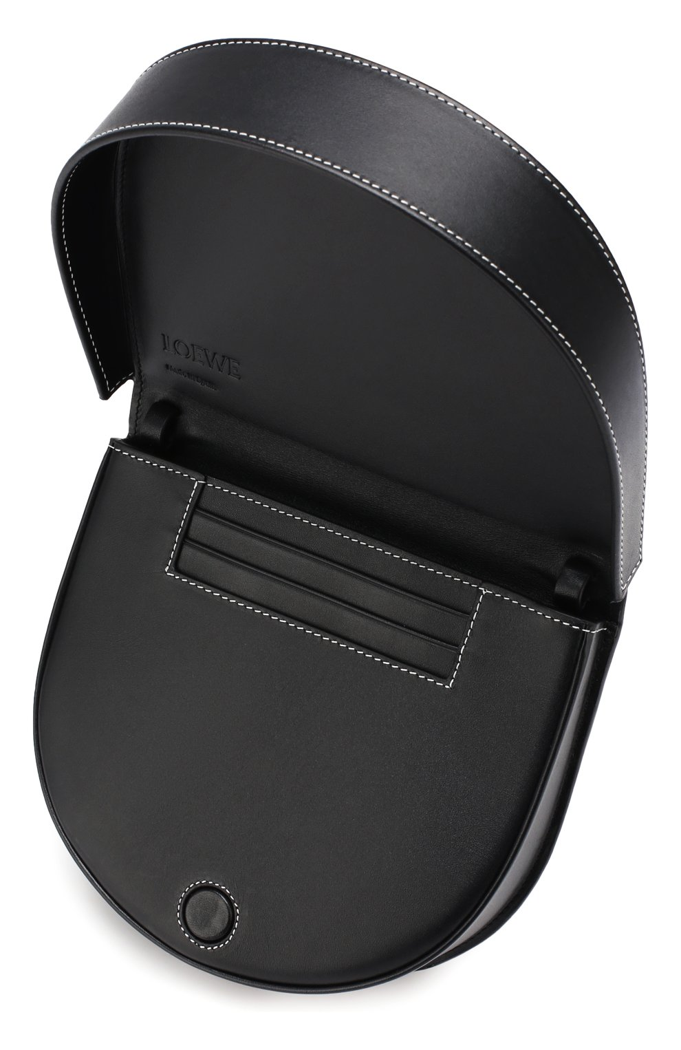 Кожаная сумка Heel Loewe черная цвета | Фото №4