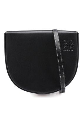 Кожаная сумка Heel Loewe черная цвета | Фото №5