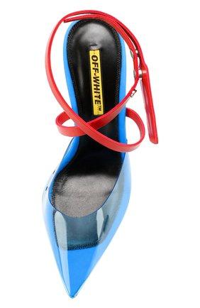 Прозрачные босоножки Zip Tie Off-White синие | Фото №5
