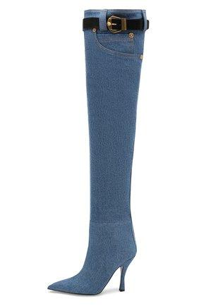 Текстильные ботфорты Versace голубые | Фото №3