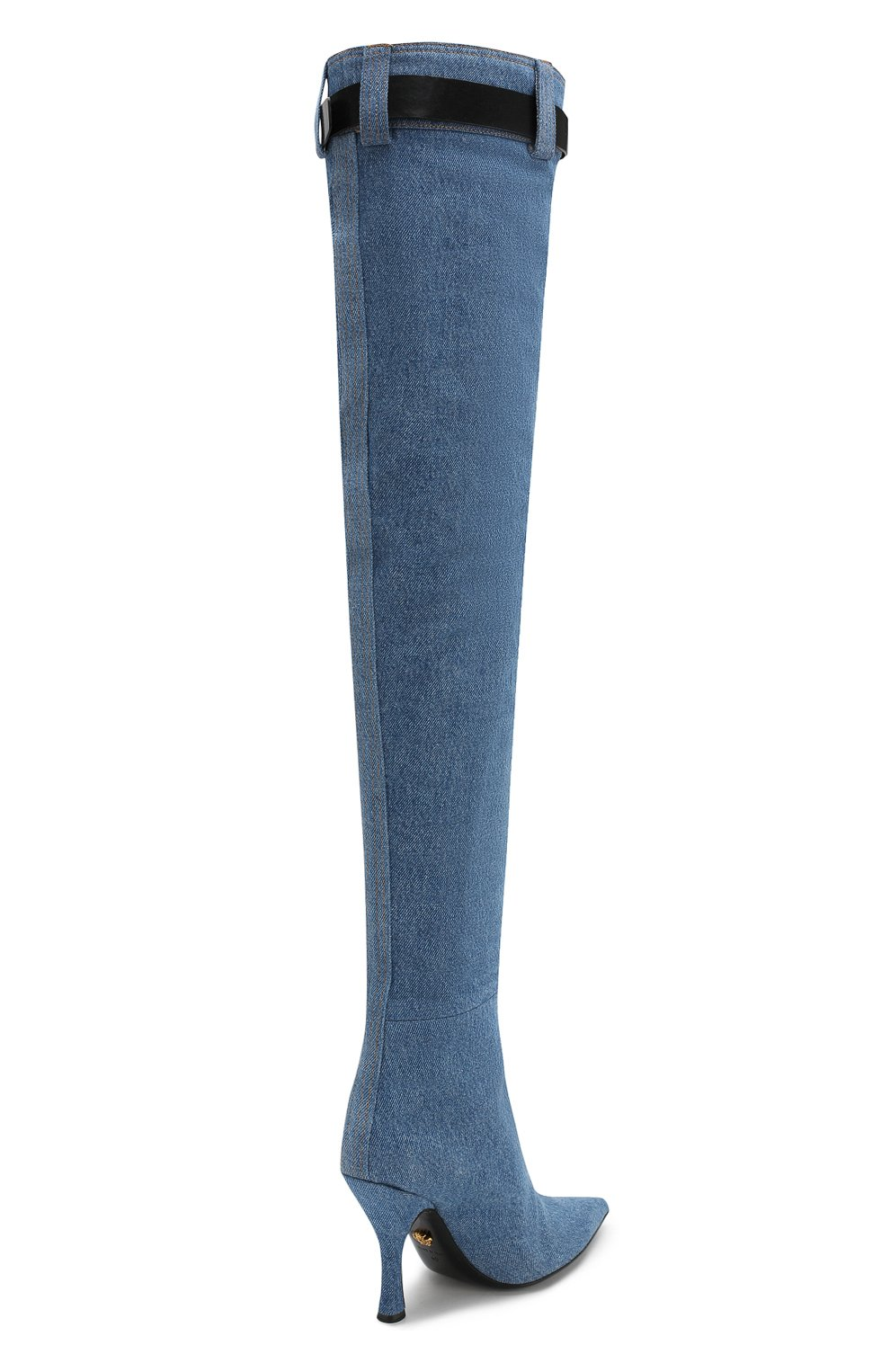 Текстильные ботфорты Versace голубые | Фото №4