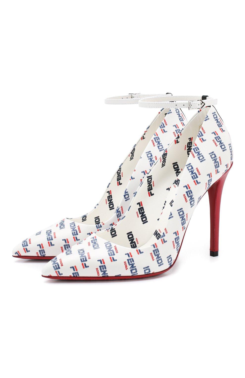 Кожаные туфли Fendi белые | Фото №1