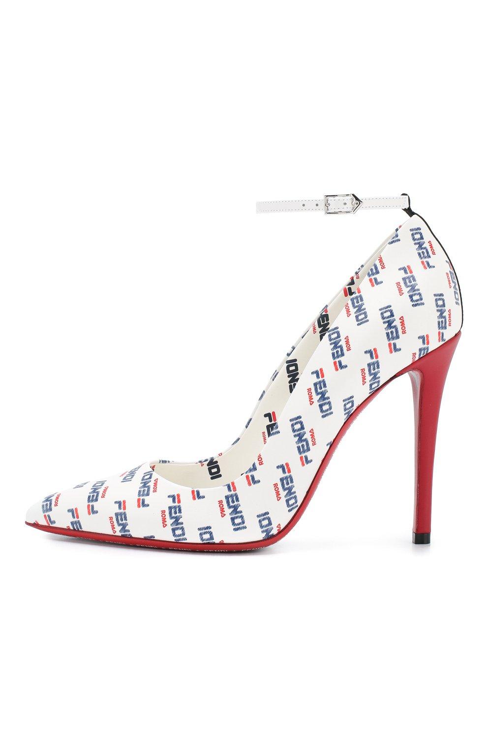 Кожаные туфли Fendi белые | Фото №3