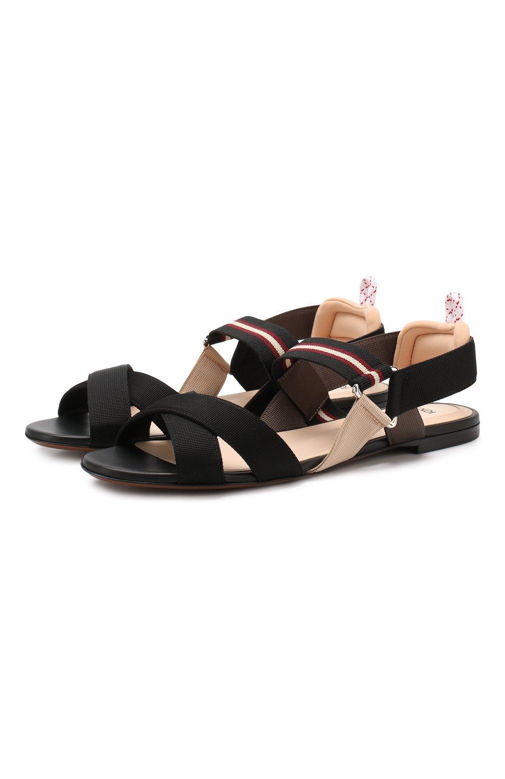 Текстильные сандалии Fendi черные | Фото №1