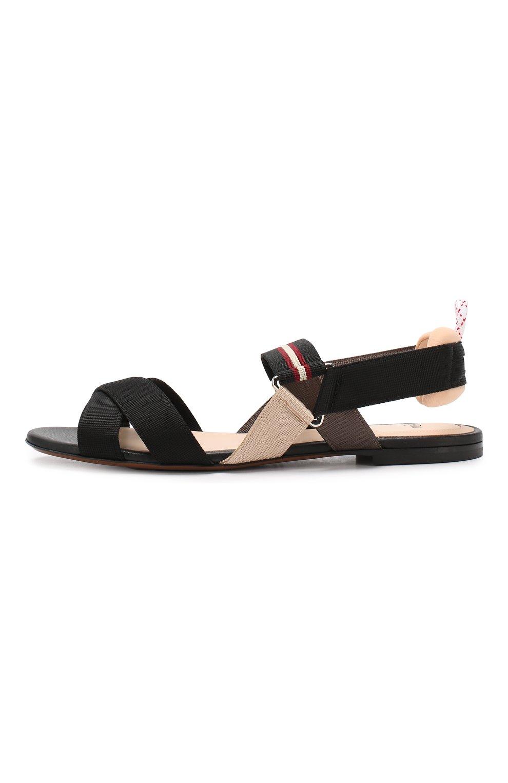 Текстильные сандалии Fendi черные | Фото №3