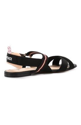 Текстильные сандалии Fendi черные | Фото №4