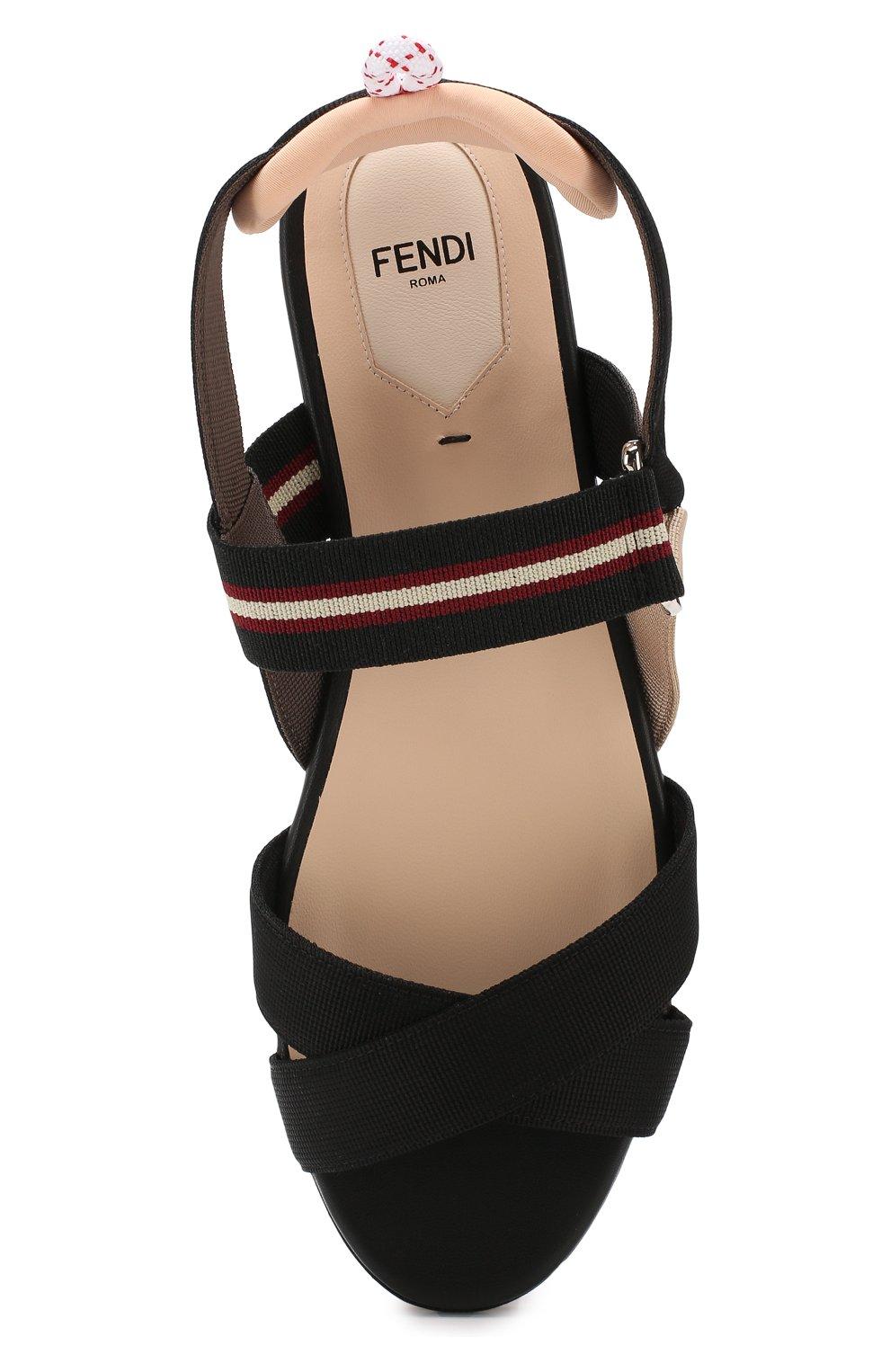 Текстильные сандалии Fendi черные | Фото №5