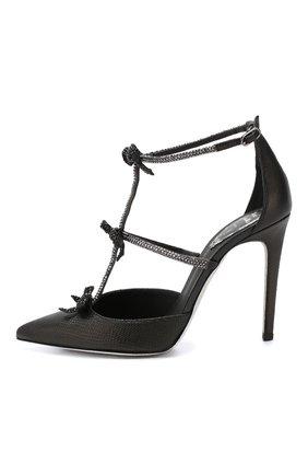 Кожаные туфли Rene Caovilla черные | Фото №3