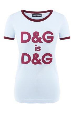 Женская хлопковая футболка DOLCE & GABBANA голубого цвета, арт. F8H32Z/G7RDG | Фото 1