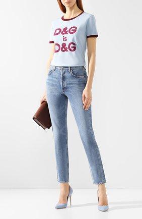 Женская хлопковая футболка DOLCE & GABBANA голубого цвета, арт. F8H32Z/G7RDG | Фото 2