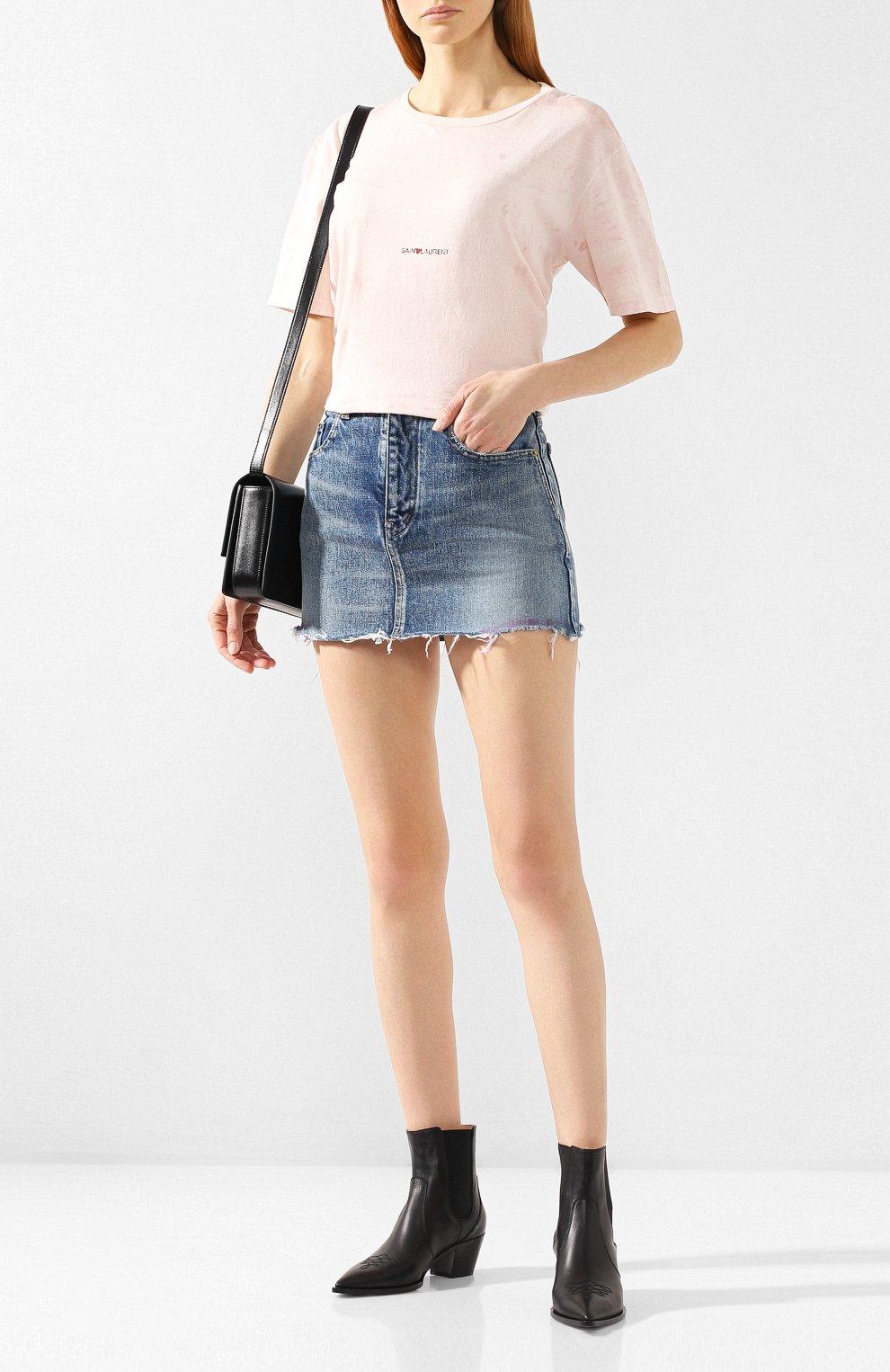 Хлопковая футболка Saint Laurent розовая | Фото №2