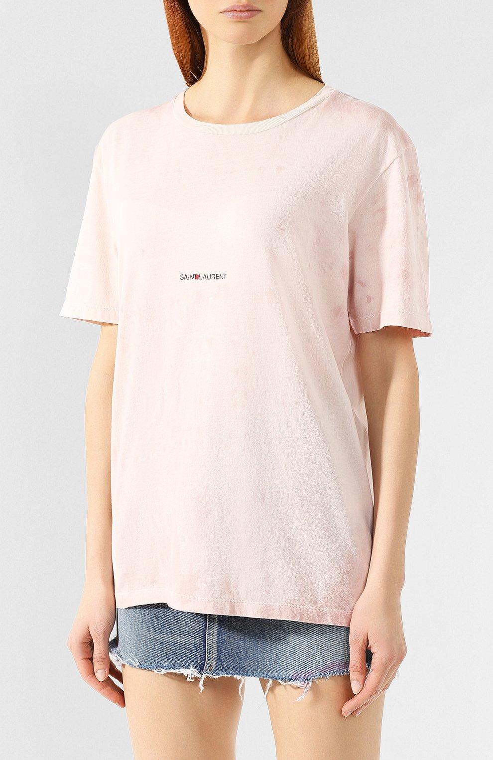 Хлопковая футболка Saint Laurent розовая | Фото №3