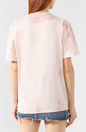 Хлопковая футболка Saint Laurent розовая | Фото №4