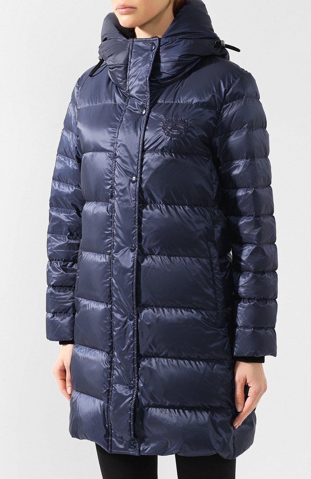 Пуховое пальто Burberry темно-синего цвета | Фото №3
