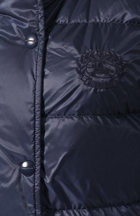 Пуховое пальто Burberry темно-синего цвета | Фото №5