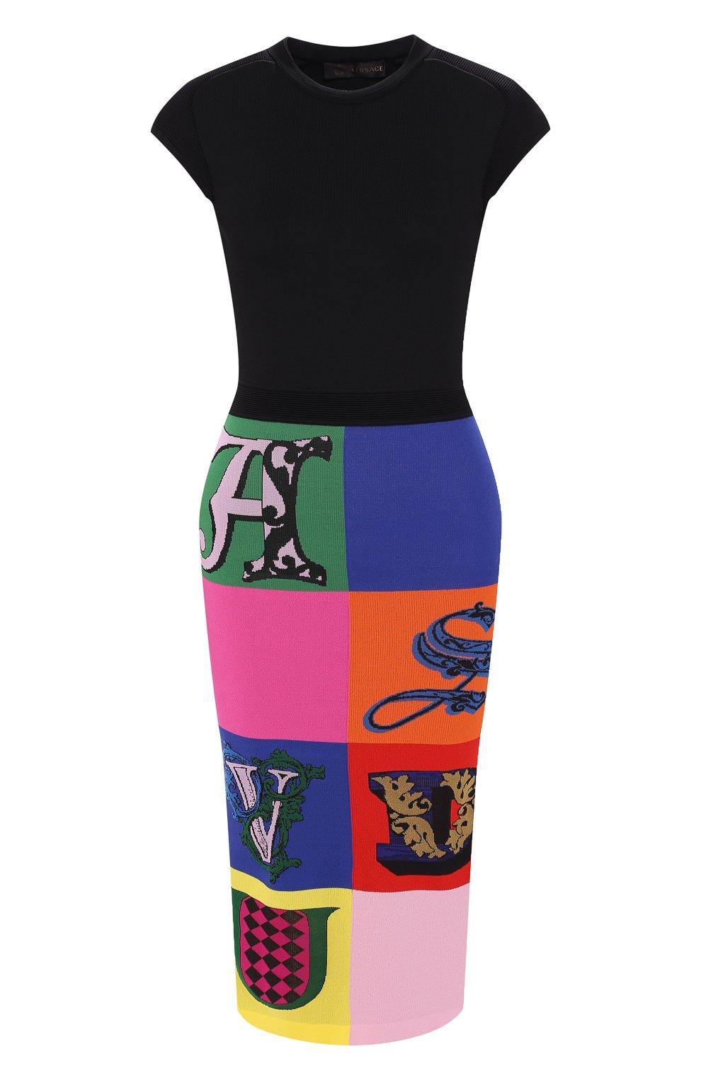 Платье из вискозы Versace разноцветное   Фото №1