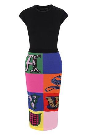 Платье из вискозы Versace разноцветное | Фото №1