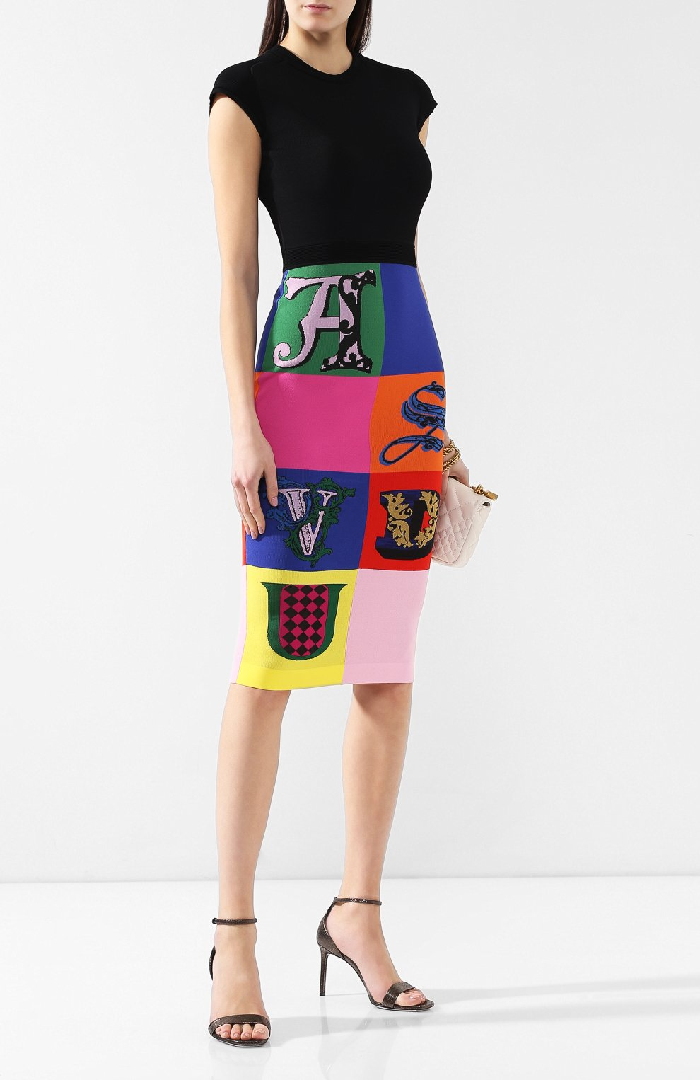 Платье из вискозы Versace разноцветное | Фото №2