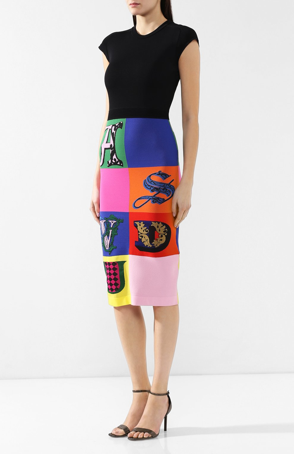 Платье из вискозы Versace разноцветное | Фото №3