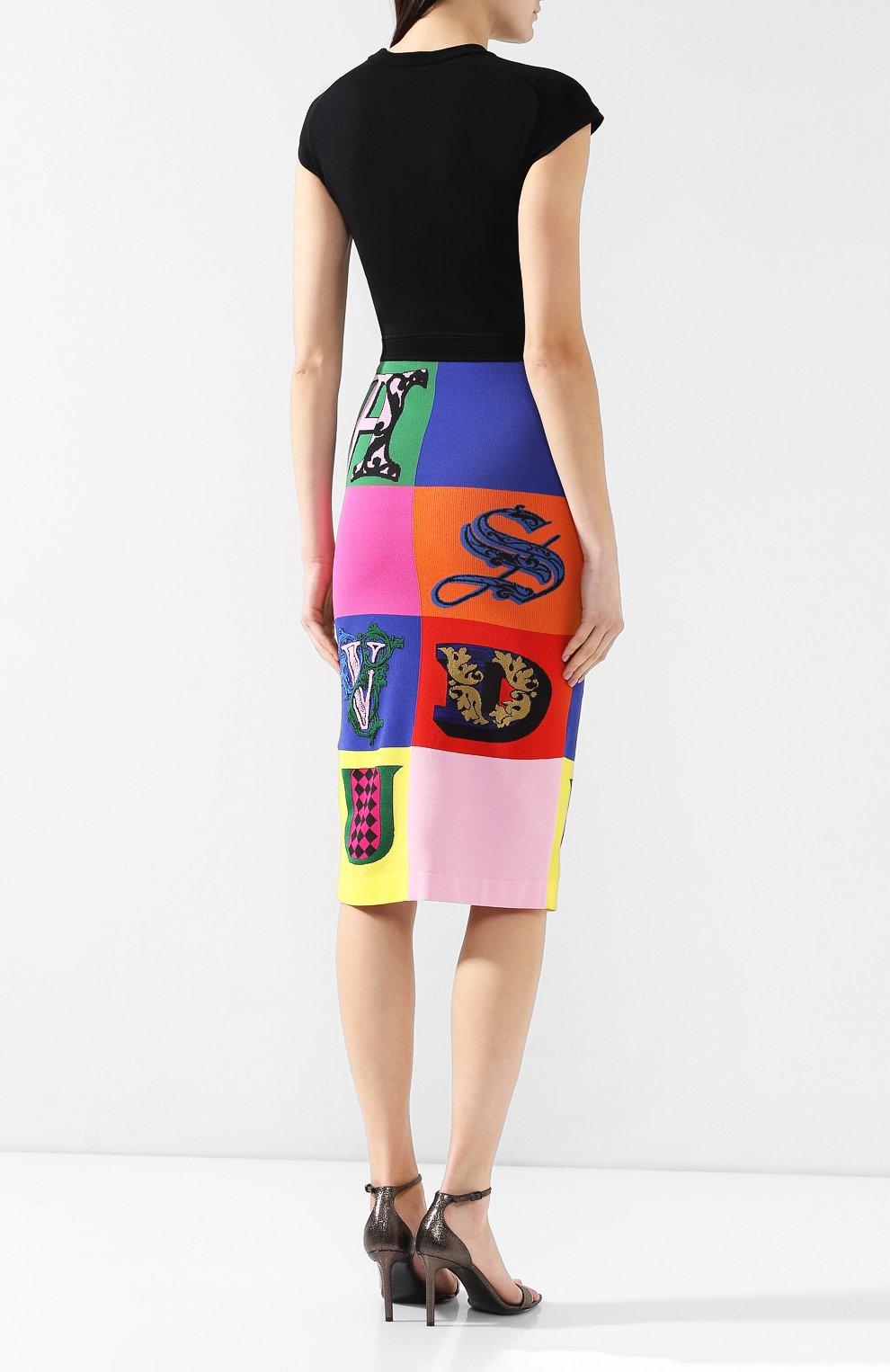 Платье из вискозы Versace разноцветное   Фото №4