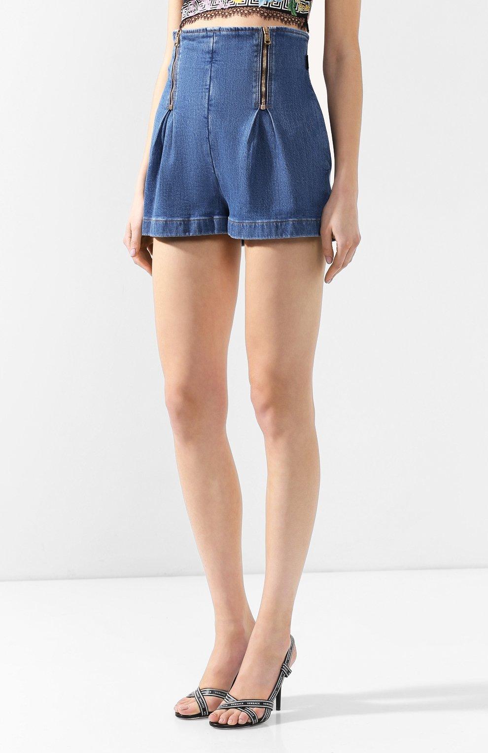 Джинсовые шорты Versace голубые   Фото №3