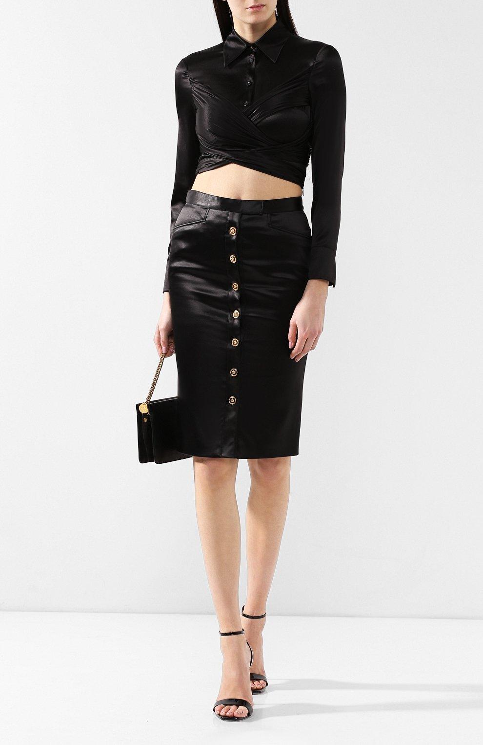 Шелковая блузка Versace черная   Фото №2