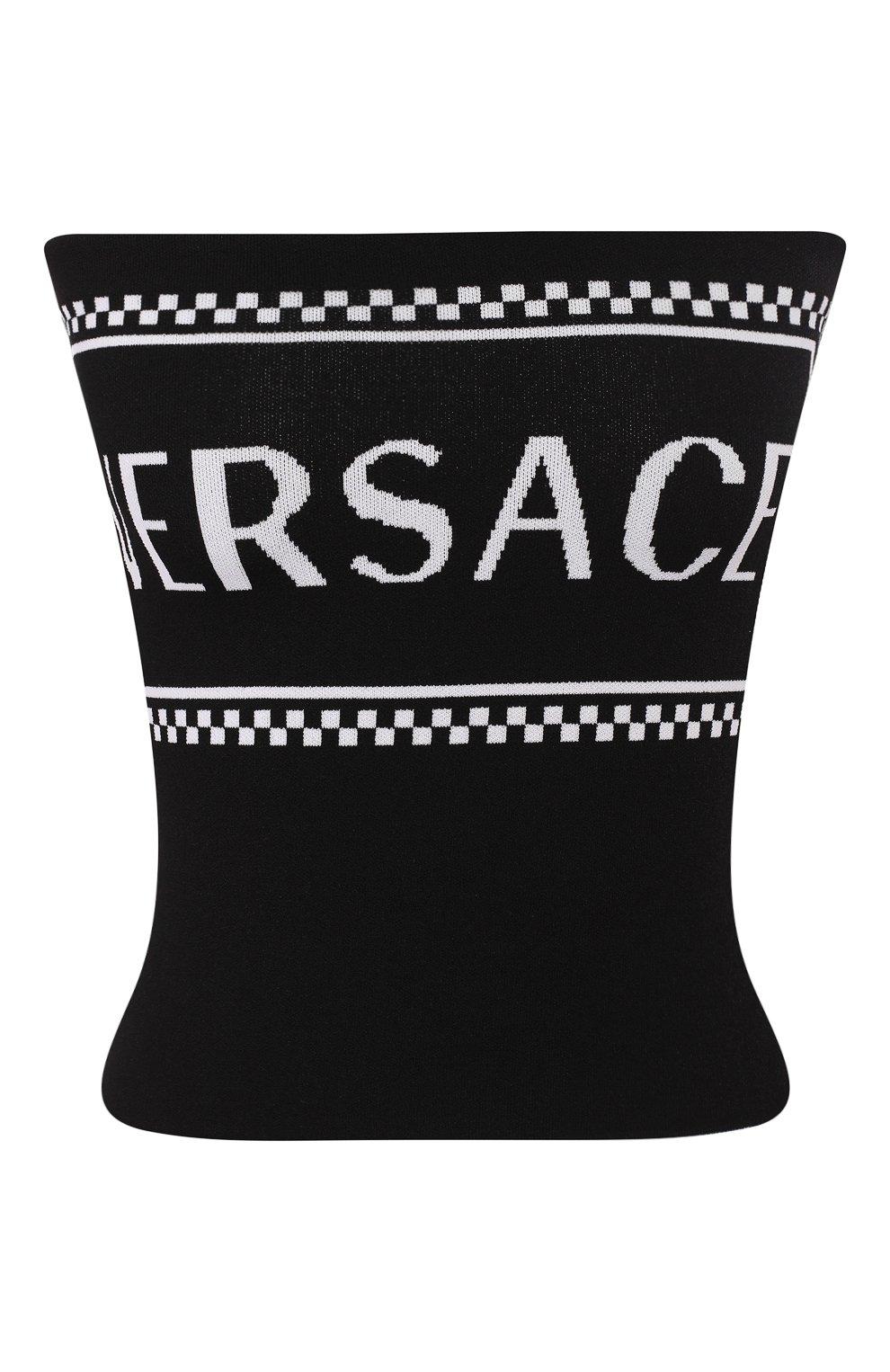 Топ из вискозы Versace черный | Фото №1