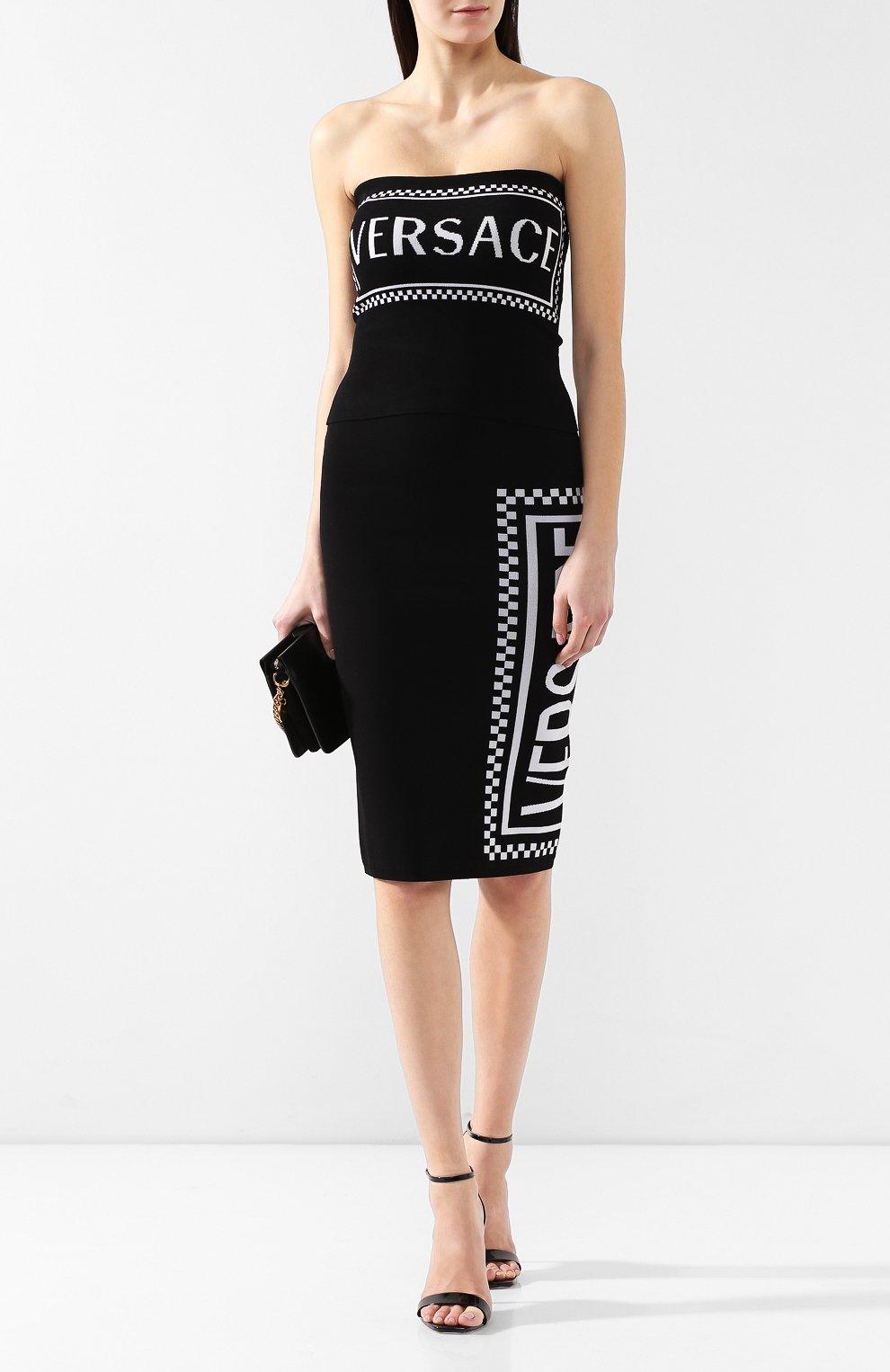 Топ из вискозы Versace черный   Фото №2
