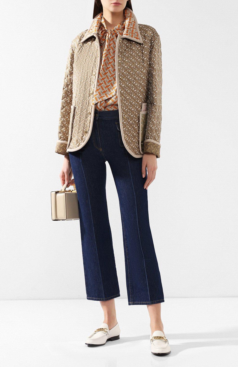 Куртка из смеси шелка и хлопка Burberry разноцветная | Фото №2