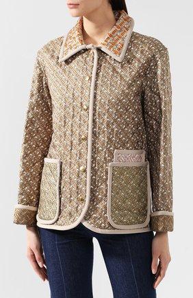 Куртка из смеси шелка и хлопка Burberry разноцветная | Фото №3