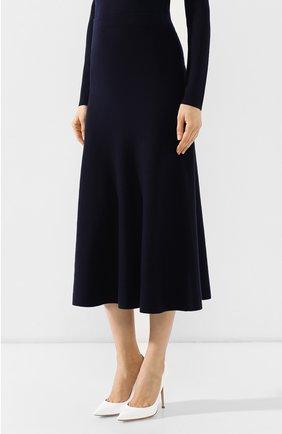 Шерстяная юбка Gabriela Hearst темно-синяя | Фото №3