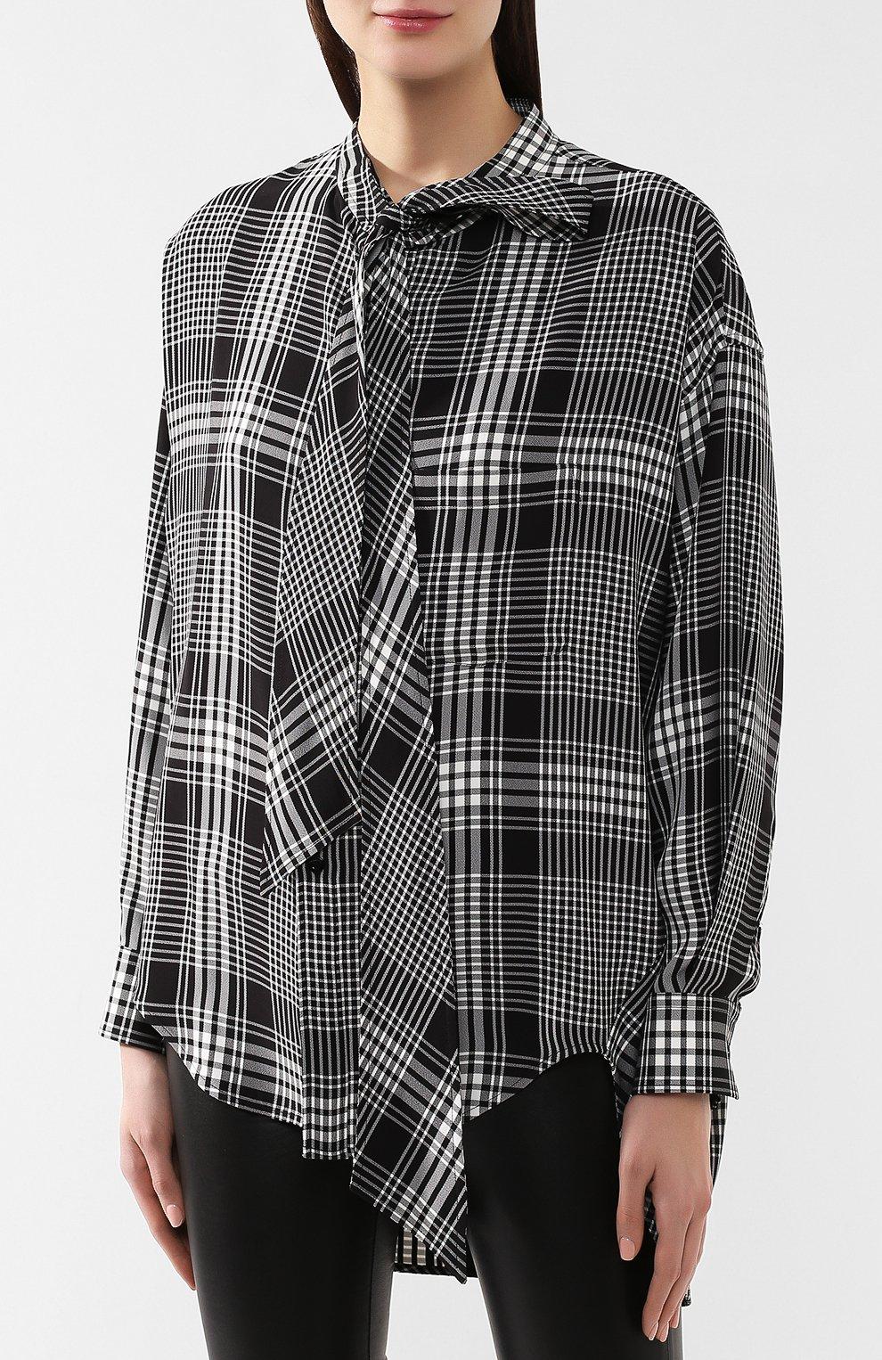 Рубашка в клетку Balenciaga черно-белая | Фото №3