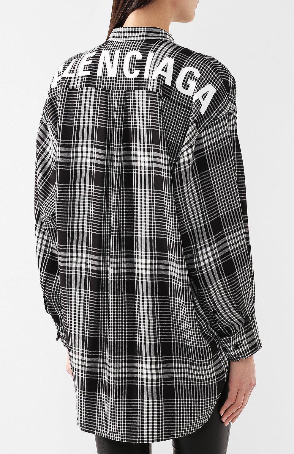 Рубашка в клетку Balenciaga черно-белая | Фото №4