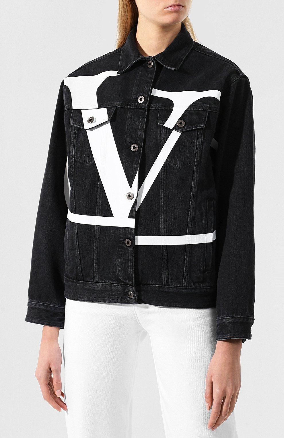 Джинсовая куртка Valentino черная | Фото №3