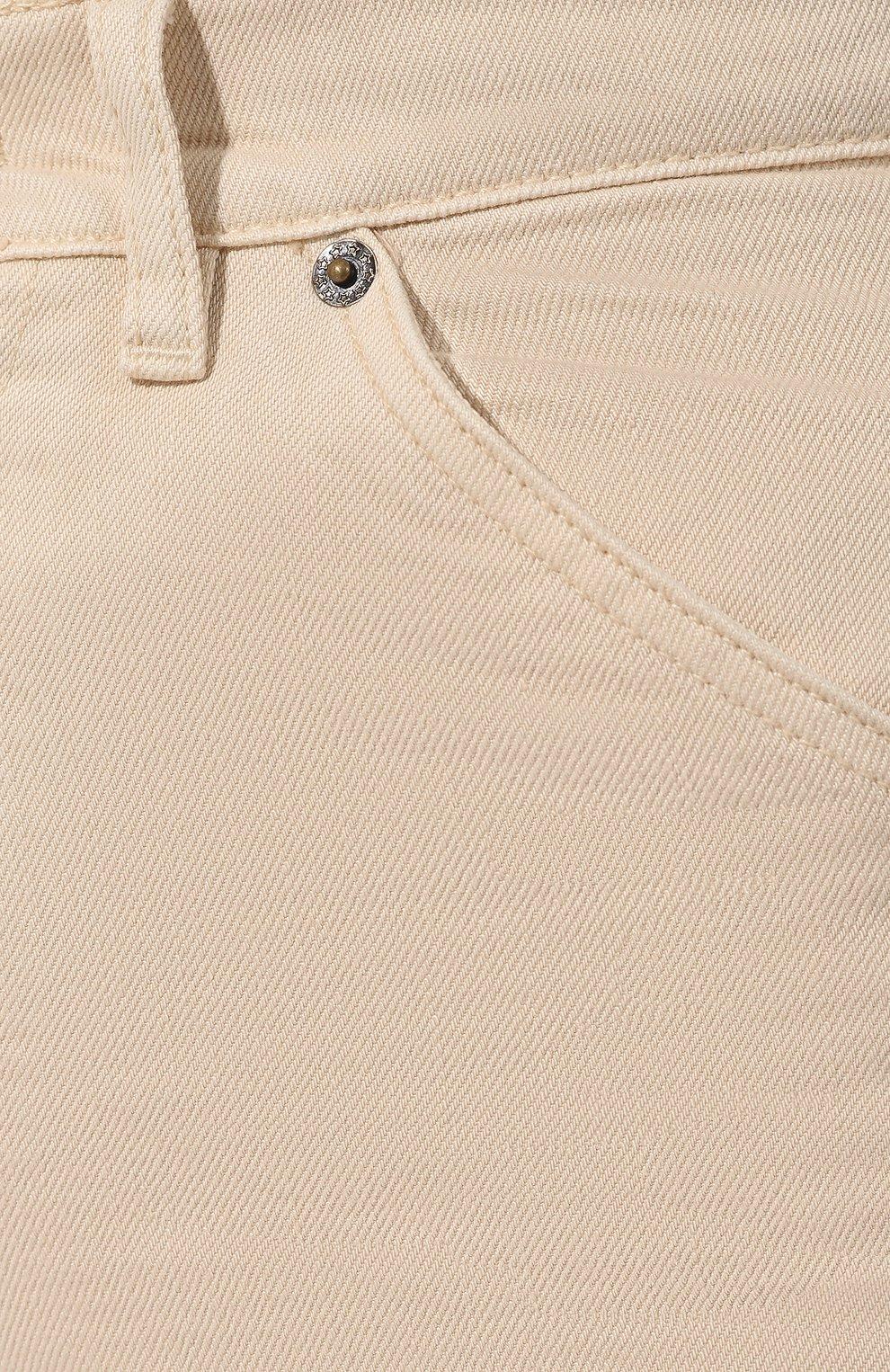 Джинсы прямого кроя Jacquemus бежевые | Фото №5